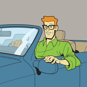 Consumer Ed in his car