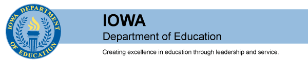 Iowa Department of Education Banner with Mission Statement