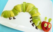 Catapillar made out of green apples