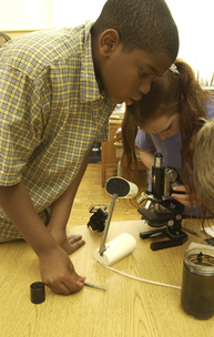 Children in a science classroom