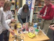 central school staff working on recipe