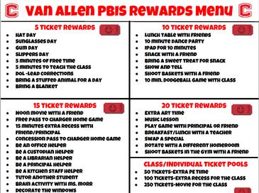Van Allen PBIS rewards menu