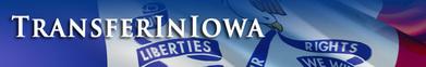 Transfer in Iowa written across Iowa flag.