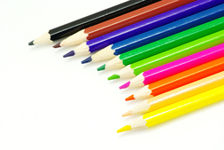 Line up of colored pencils