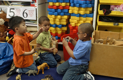 Three preschool boys sitting on floor playing with plastic wild animals.