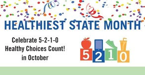Healthiest State Month logo with confetti and 5-2-1-0 building blocks