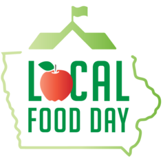 Local food day logo, shaped like the outline of the state of Iowa, with school rooftop with flag on top. Word Local has apple image for the letter O.