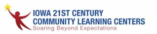 Iowa 21st Century Community Learning Centers, soaring Beyond Expectations graphic with stylized person holding a star
