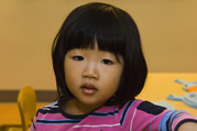 Adorable preschool female student