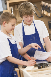 Middle school students in shop class