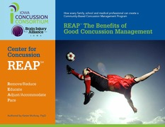 Cover of concussion management document showing young male athlete jumping in air kicking soccer ball.