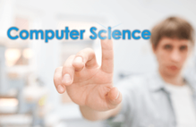 Computer Science with student touching a glass screen