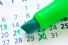 Calendar dates marked with large X's.
