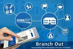 Iowa Learning Online Branch Out logo,
