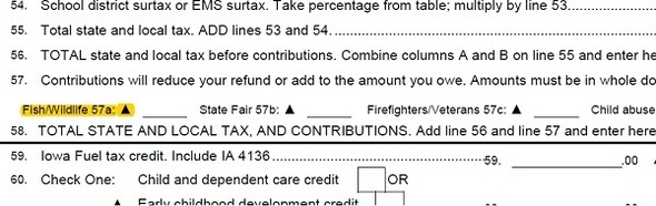 Screenshot of Iowa 1040 Tax For showing line 57, the tax check-off line