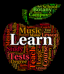 Subjects listed in shape of an apple with the word Learn in the center