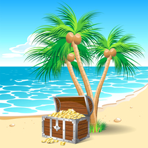 Palm tree with chest of money