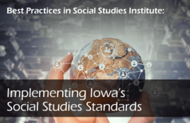 Implementing Iowa's Social Studies Standards, globe with hand