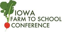 Iowa Farm to School Conference 2019 logo, graphic of bunch of radishes