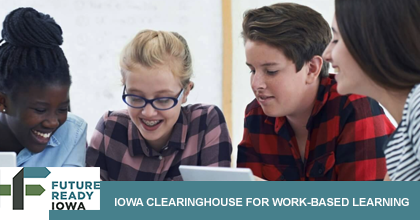 Students  studying with Iowa Word Based Learning at the bottom of the photo