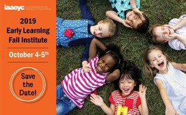 Early Learning Fall Institute ad, showing six children laying down on grass in a circle.