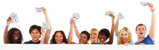 Happy students holding money