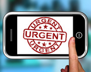 Urgent spelled out on cell phone screen