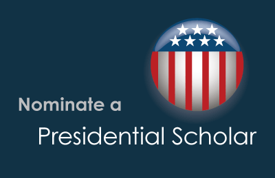 Graphic with flag image and nominate a presidential scholar on it.