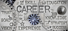 Career graphic, words about goals and education