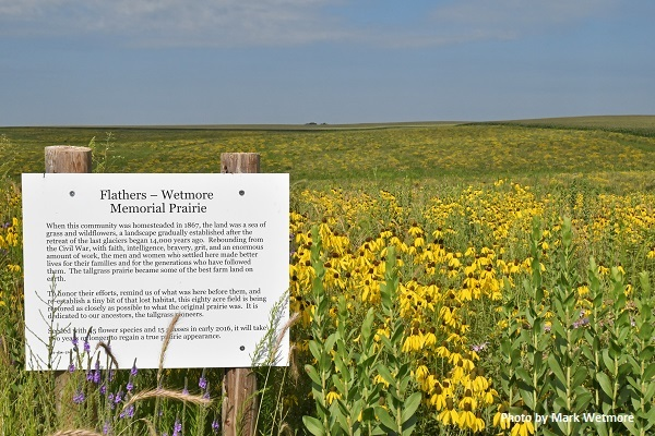 View of prairie with sign