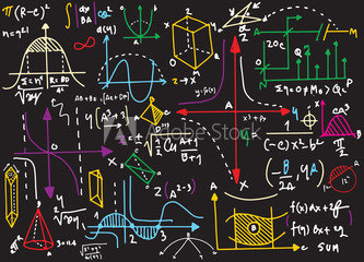 Colored algebra equations written on blackboard