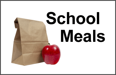 Graphic of brown lunch bag and an apple regarding lunches during school closings