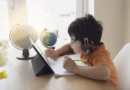 Preschooler on home computer