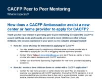 CACFP Peer to Peer Mentoring