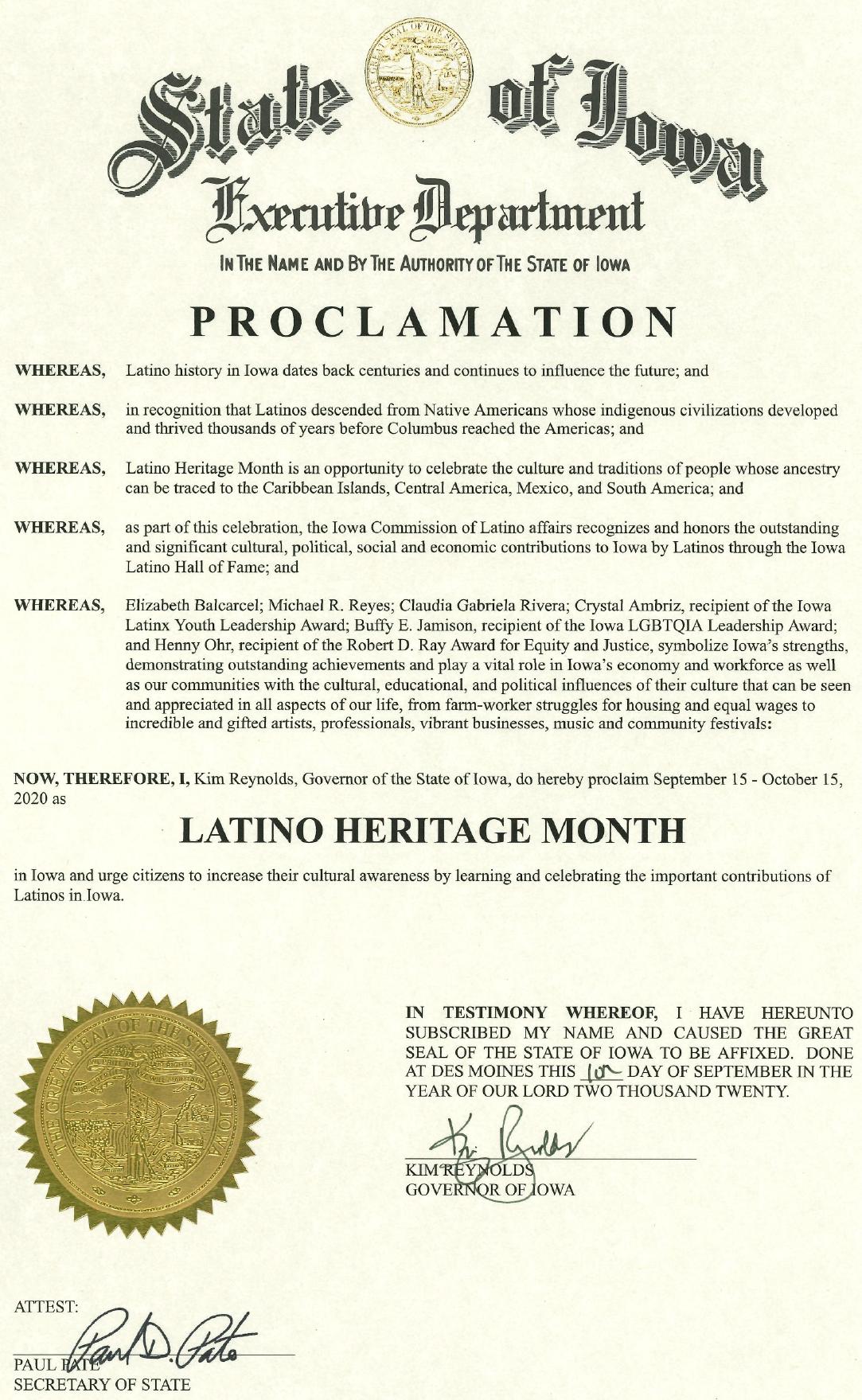 2020 Latino Heritage Month Proclamation