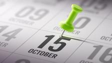 Calendar showing October 15