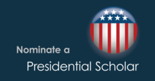 Nominate a Presidential Scholar graphic with flag logo
