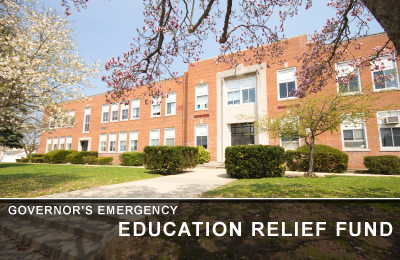 Governor's Emergency Education Relief Fund graphic with school building in background.