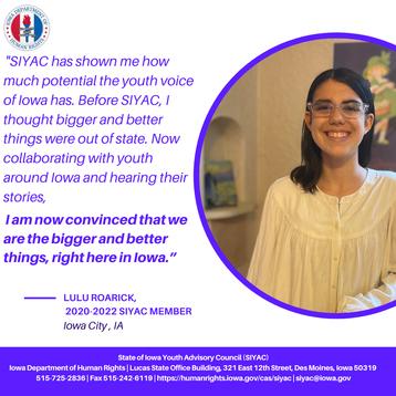 Testimonial from current SIYAC member, Lulu