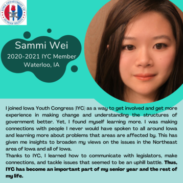 Iowa Youth Congress Testimonial from Current Member, Sammi Wei