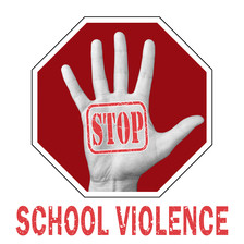 STOP school violence hand