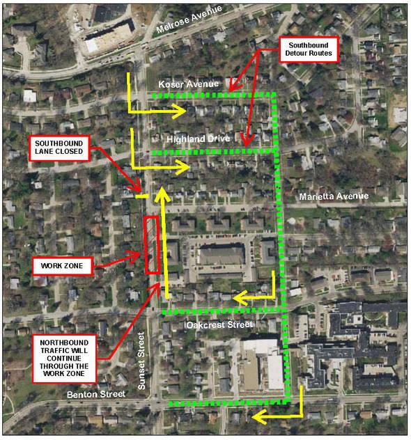 Sunset Street detour map