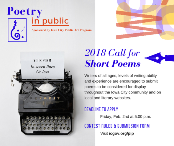 A graphic promoting 'call for entries' for the Iowa City poetry in public contest.