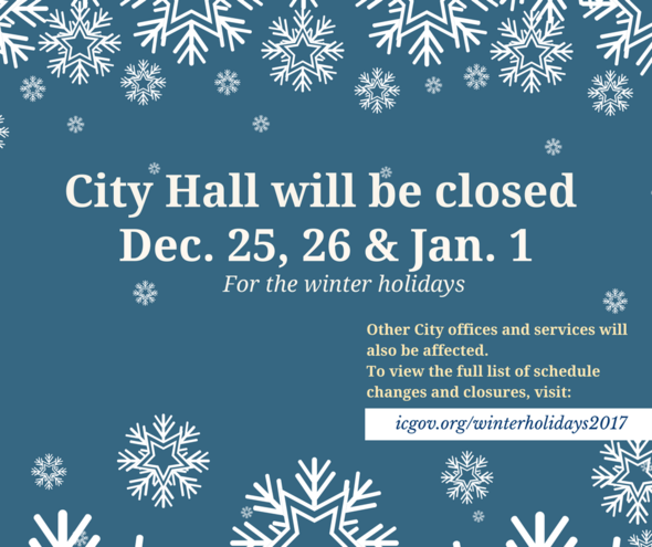 A graphic promoting closures at City Hall for the winter holidays.