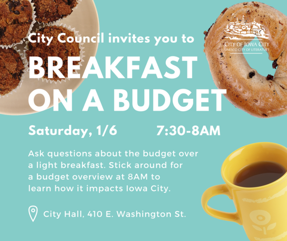A graphic promoting the Jan. 6, 2018 Breakfast on a Budget event.