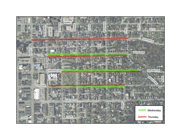 A map of where Iowa City snow trucks will plow on Feb. 14 & 15, 2018. Vehicles must be moved off of the street in these areas or will be towed.