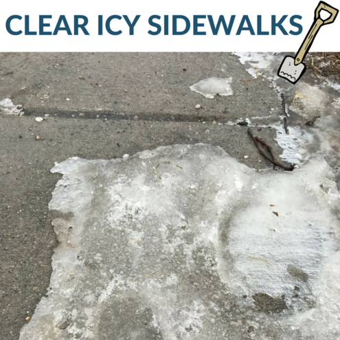 A graphic reminding Iowa City residents to clear their sidewalks.