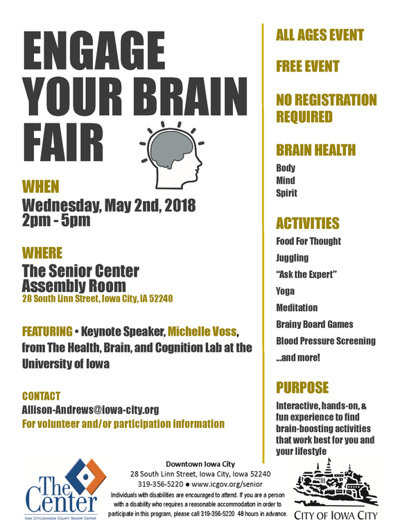 A flyer promoting the Engage Your Brain event at the Iowa City Senior Center.