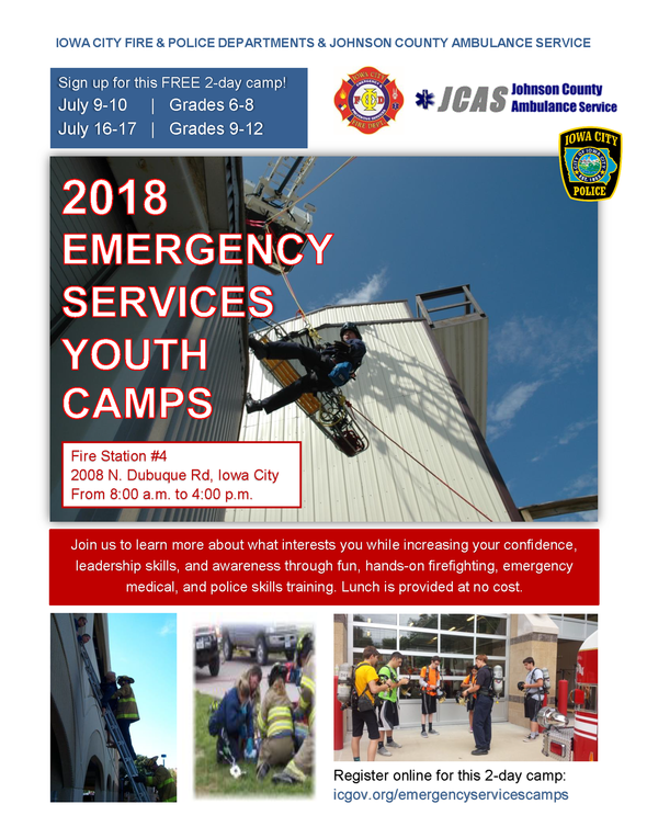 A flyer for the emergency services youth camp