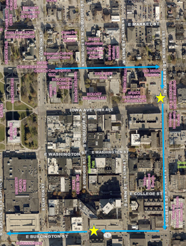 Downtown Iowa City shuttle stop locations